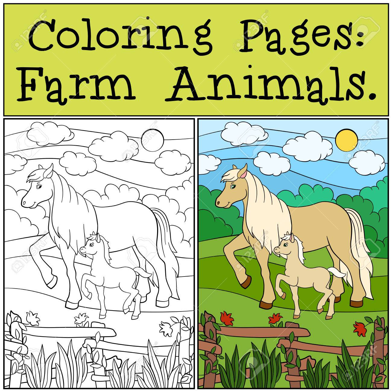 Coloring Pages: Farm Animals. Mother Horse Walks With Her Little ...