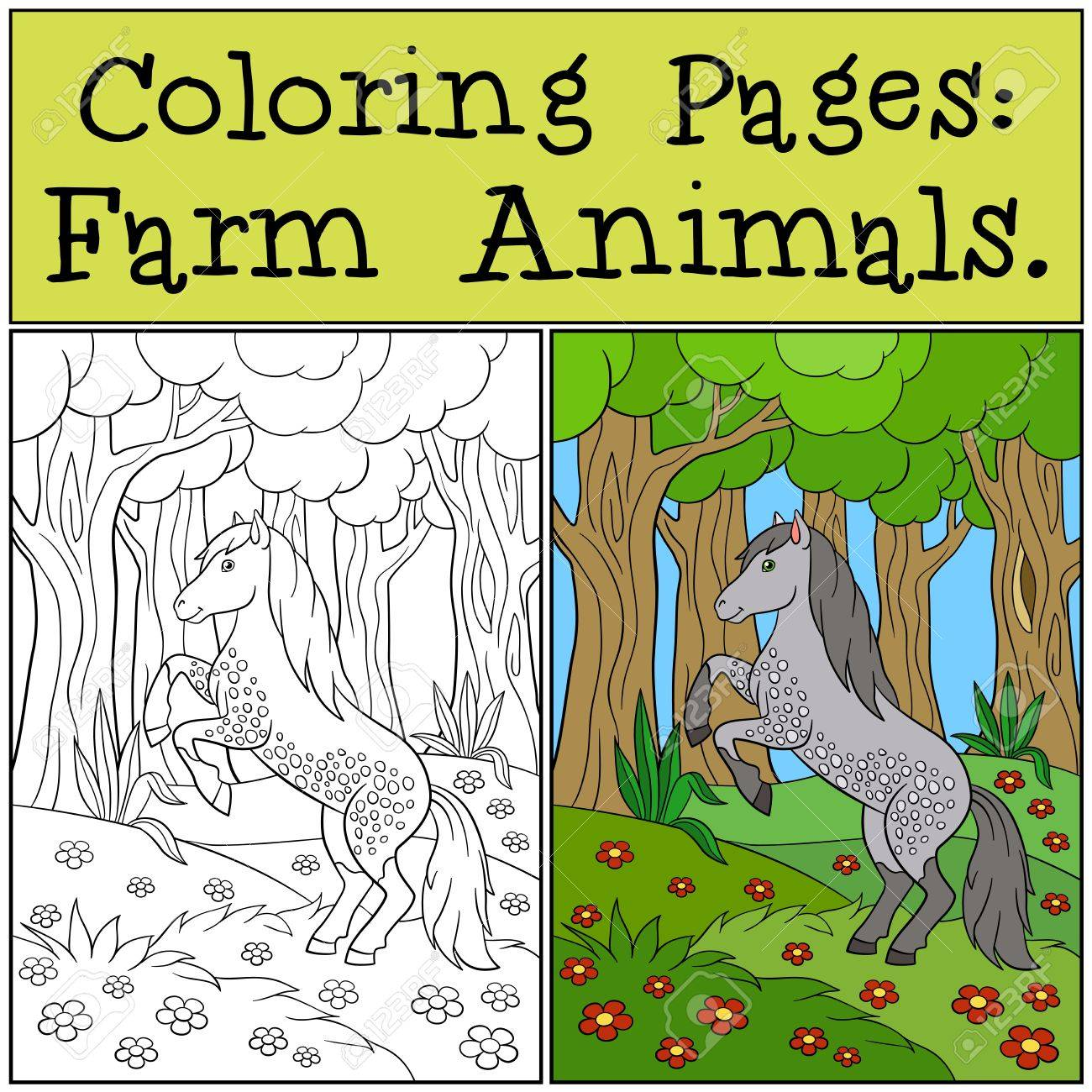 Coloring Pages: Farm Animals. Beautiful Cute Horse In The Forest ...