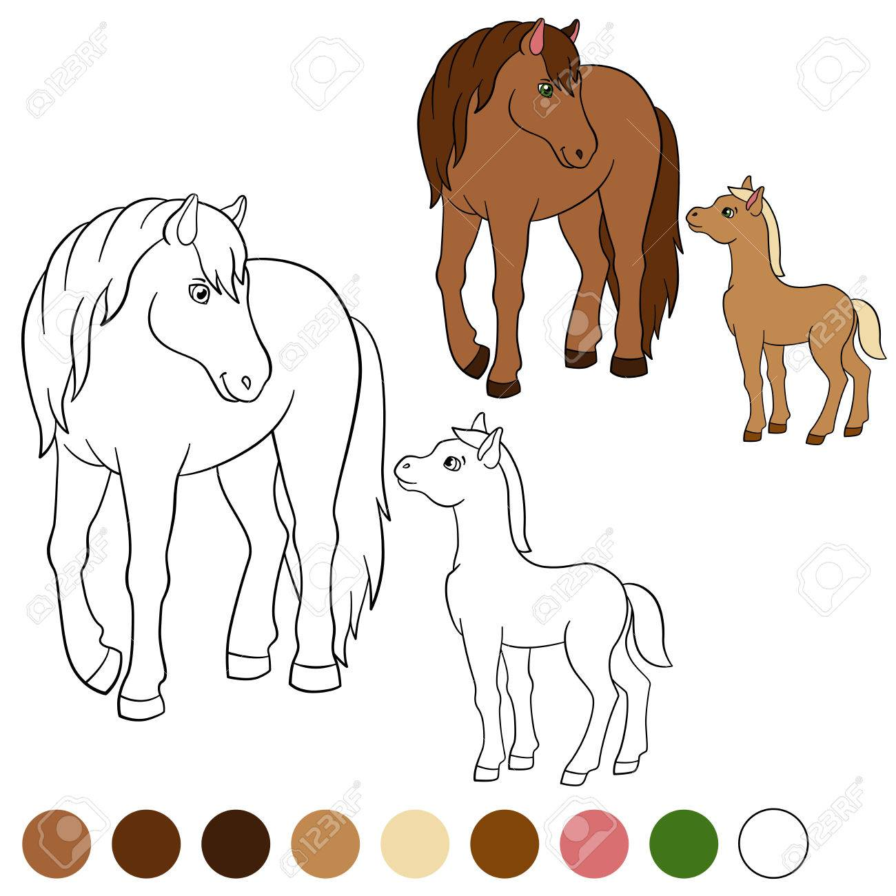 coloring page color me horse mother horse with her little cute foal