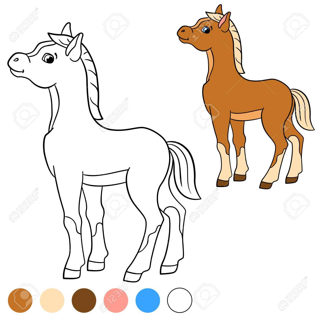 Dibujo Para Colorear. Color Me: Caballo. Poco Pare Linda Sonríe ...