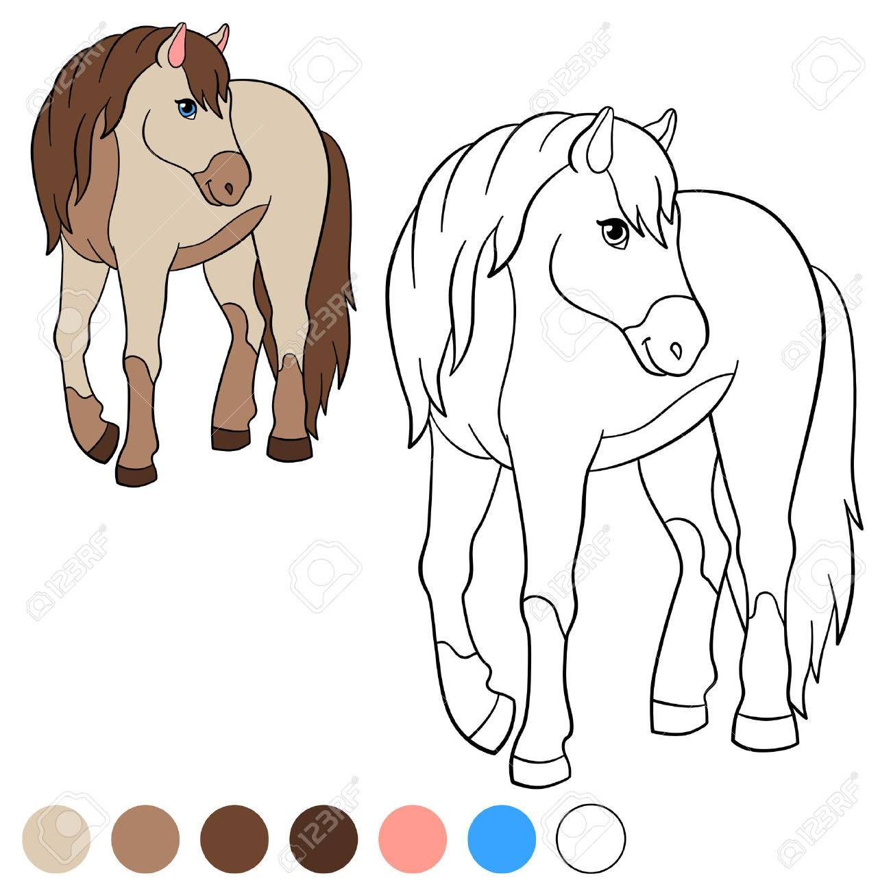 Coloring Page Color Me Horse Cute Smiles Stock Vector
