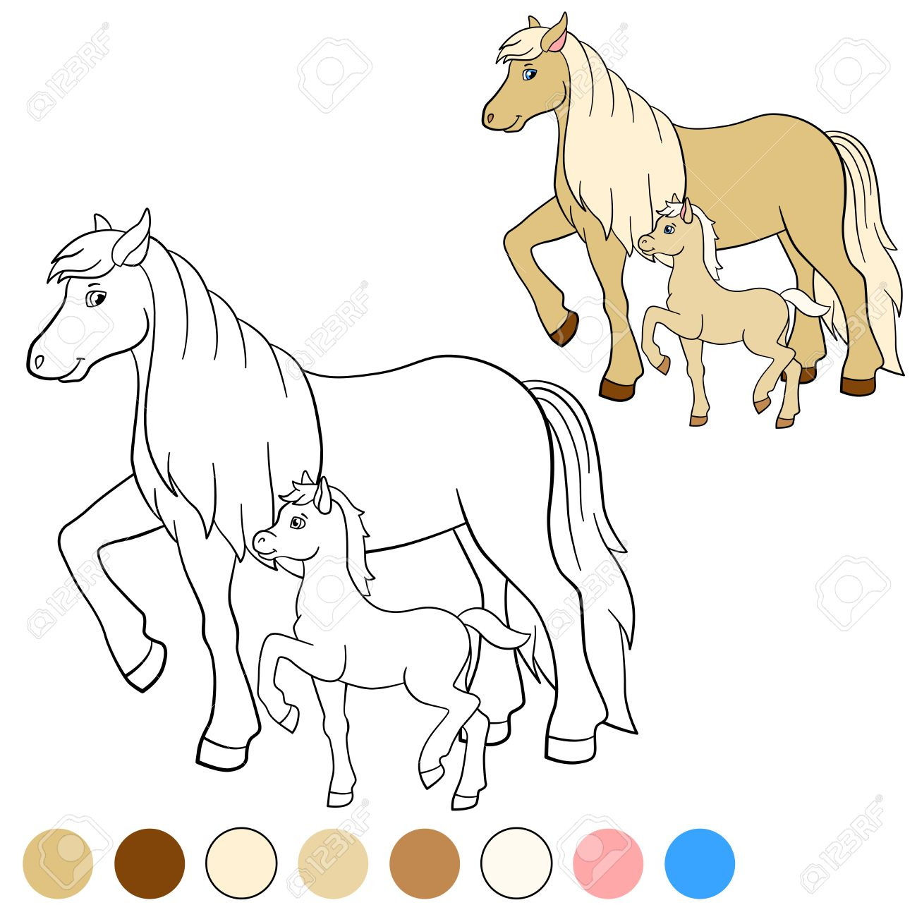 Coloring Page Color Me Horse Mother Walks With Her Little Cute Foal