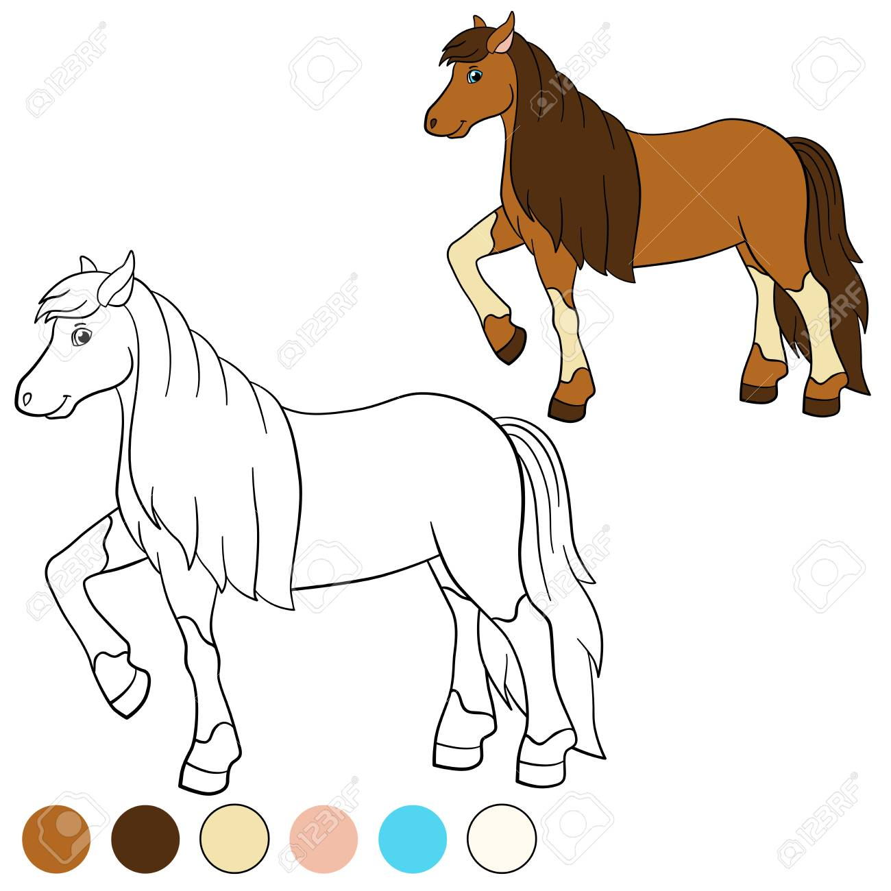 Coloring Page Color Me Horse Cute Walks And Smiles Stock Vector