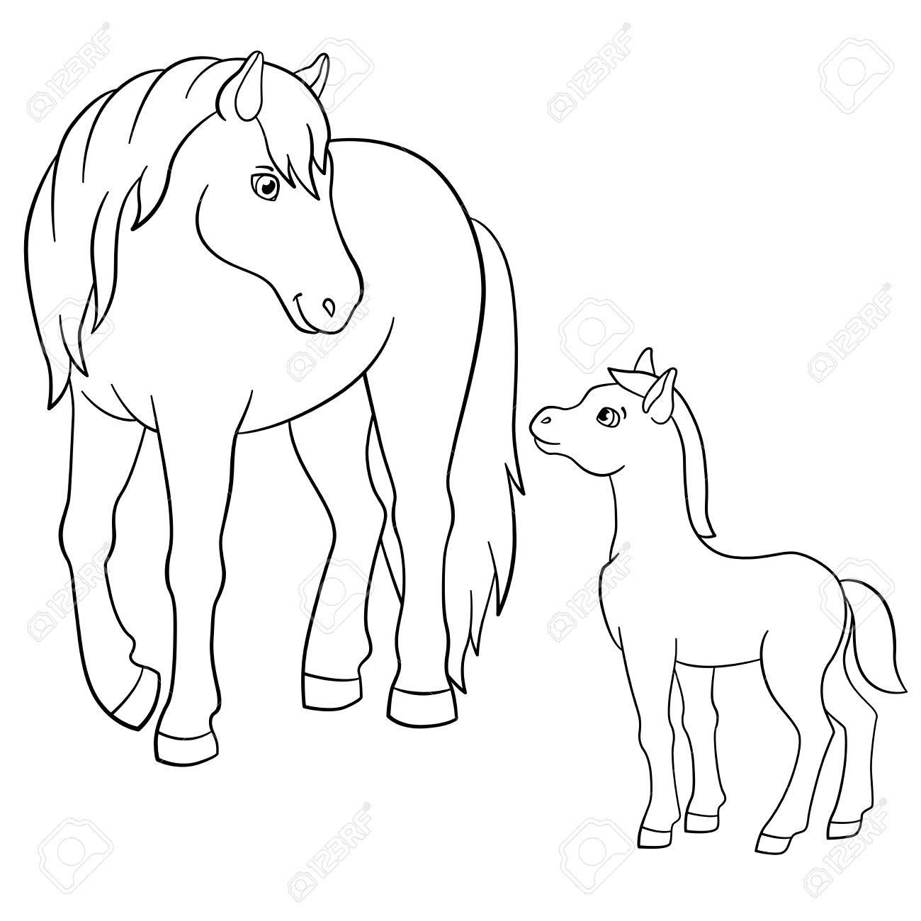 Coloring Pages. Farm Animals. Mother Horse With Her Little Cute ...