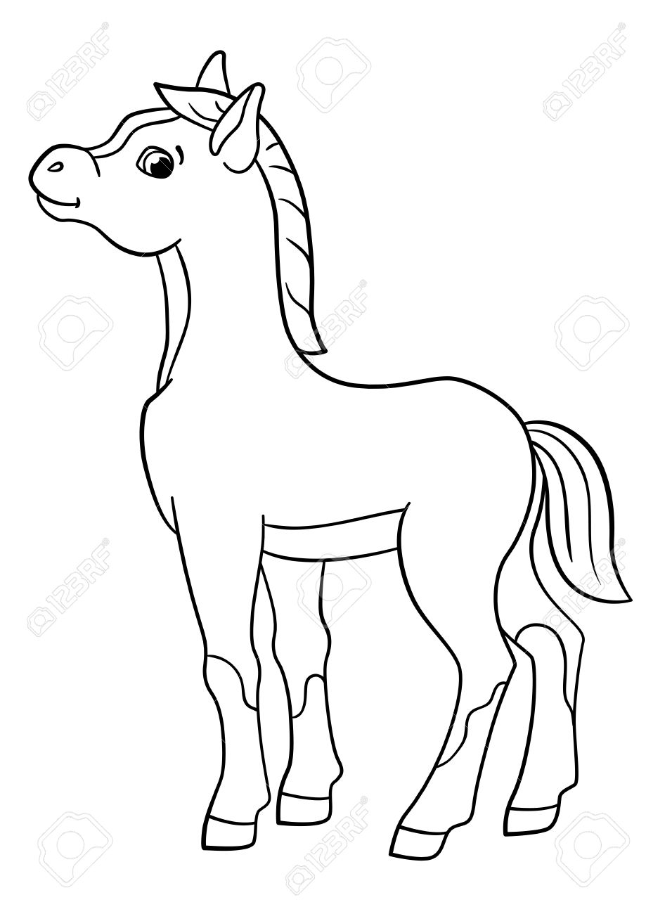 Coloring Pages Farm Animals Little Cute Foal Smiles Stock Vector
