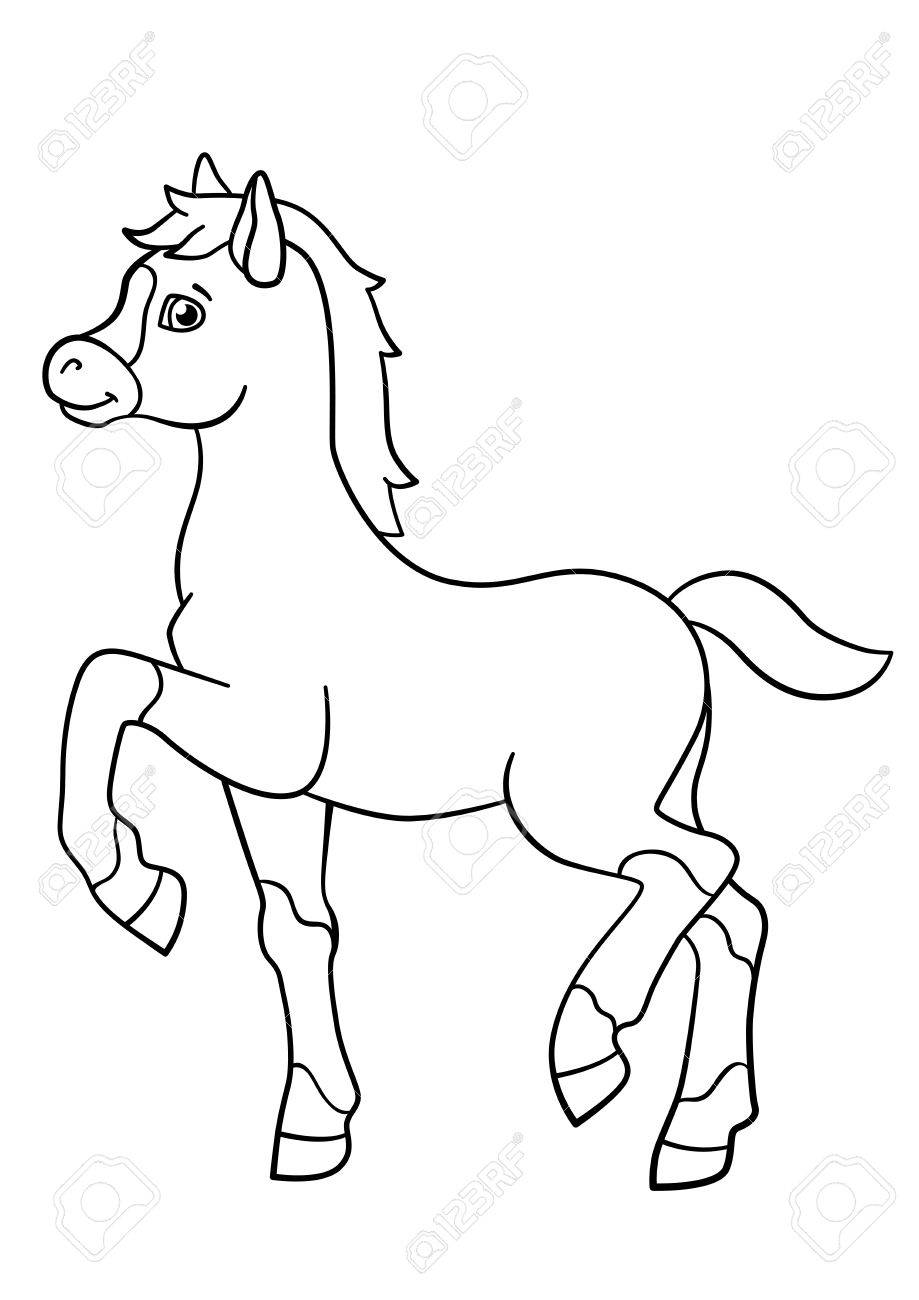Coloring Pages Farm Animals Little Cute Foal Walks And Smiles Stock Vector