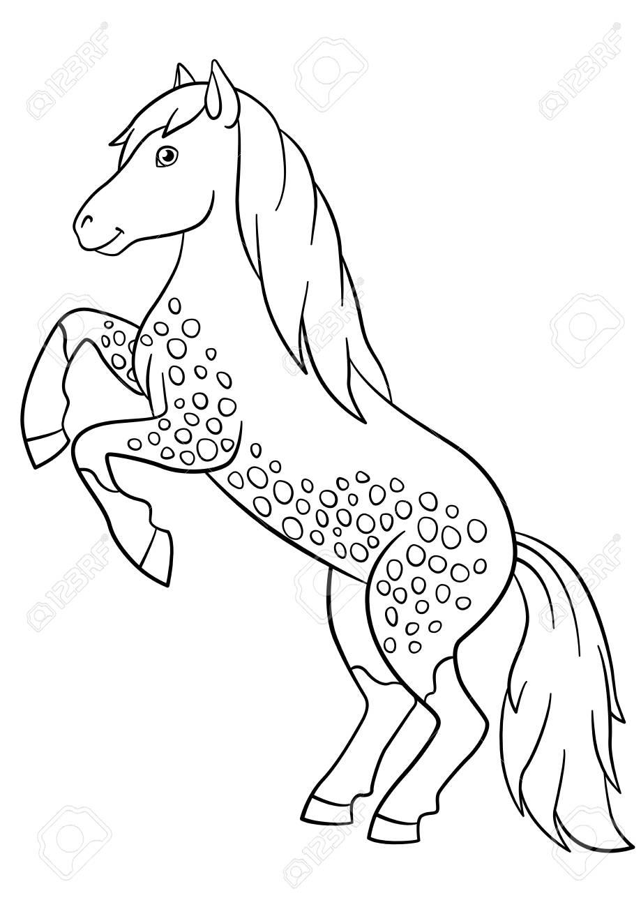 Malvorlagen. Nutztiere. Schönes Pferd Lächelt. Lizenzfrei Nutzbare ...