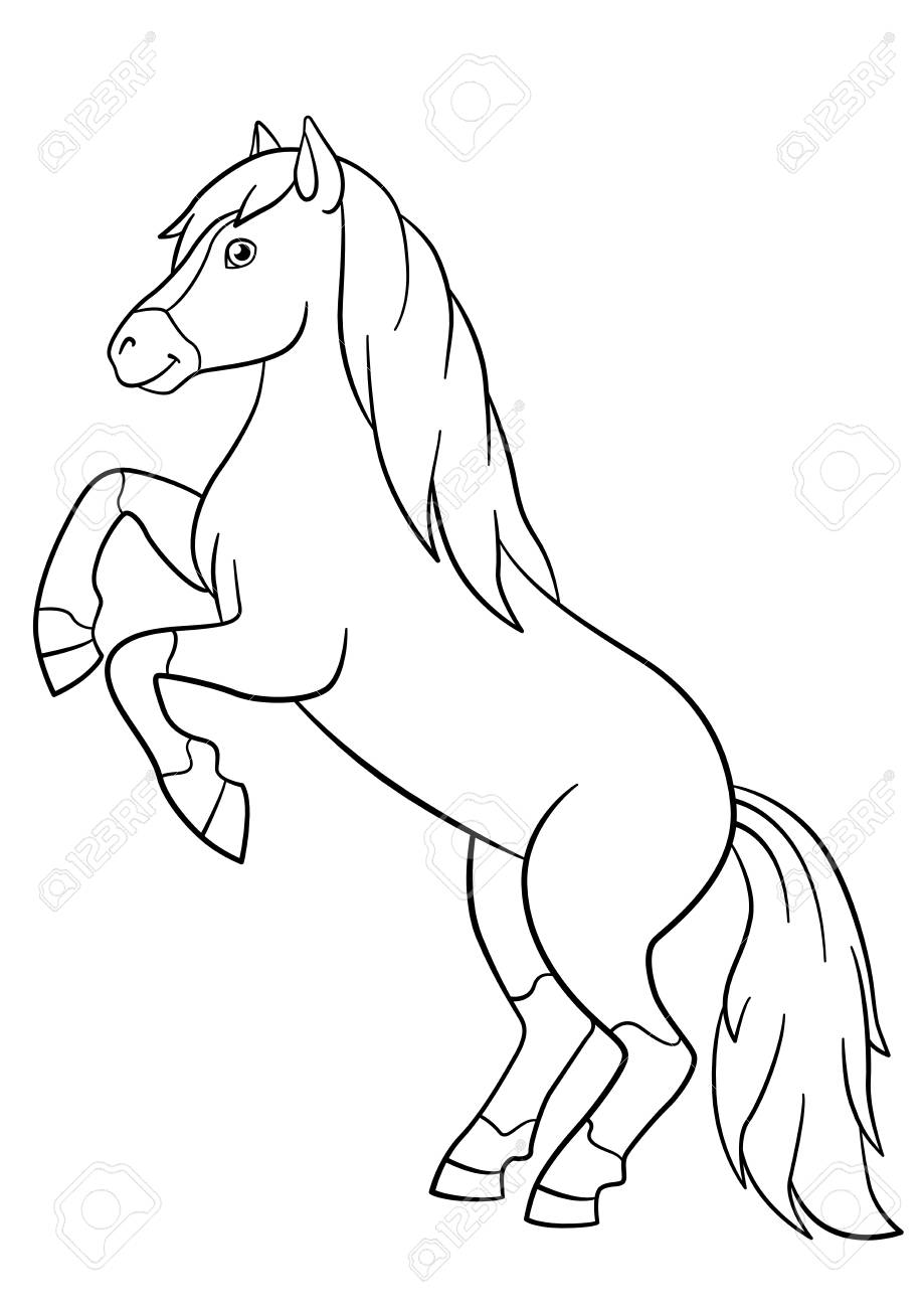 Coloring Pages. Farm Animals. Beautiful Horse Smiles. Royalty Free ...