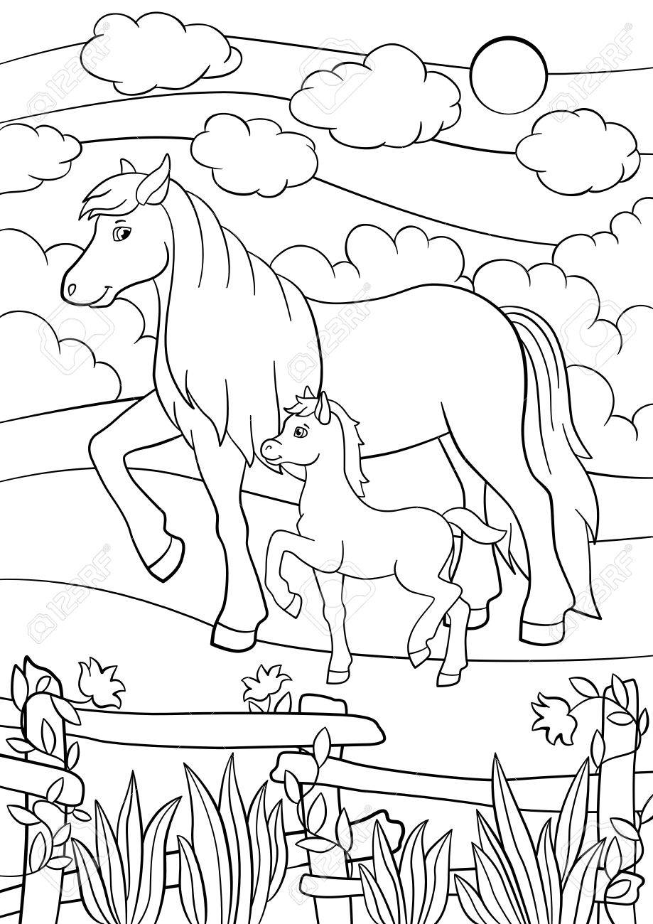 Coloriage Animaux De La Ferme Cheval Mere Marche Avec Son Petit
