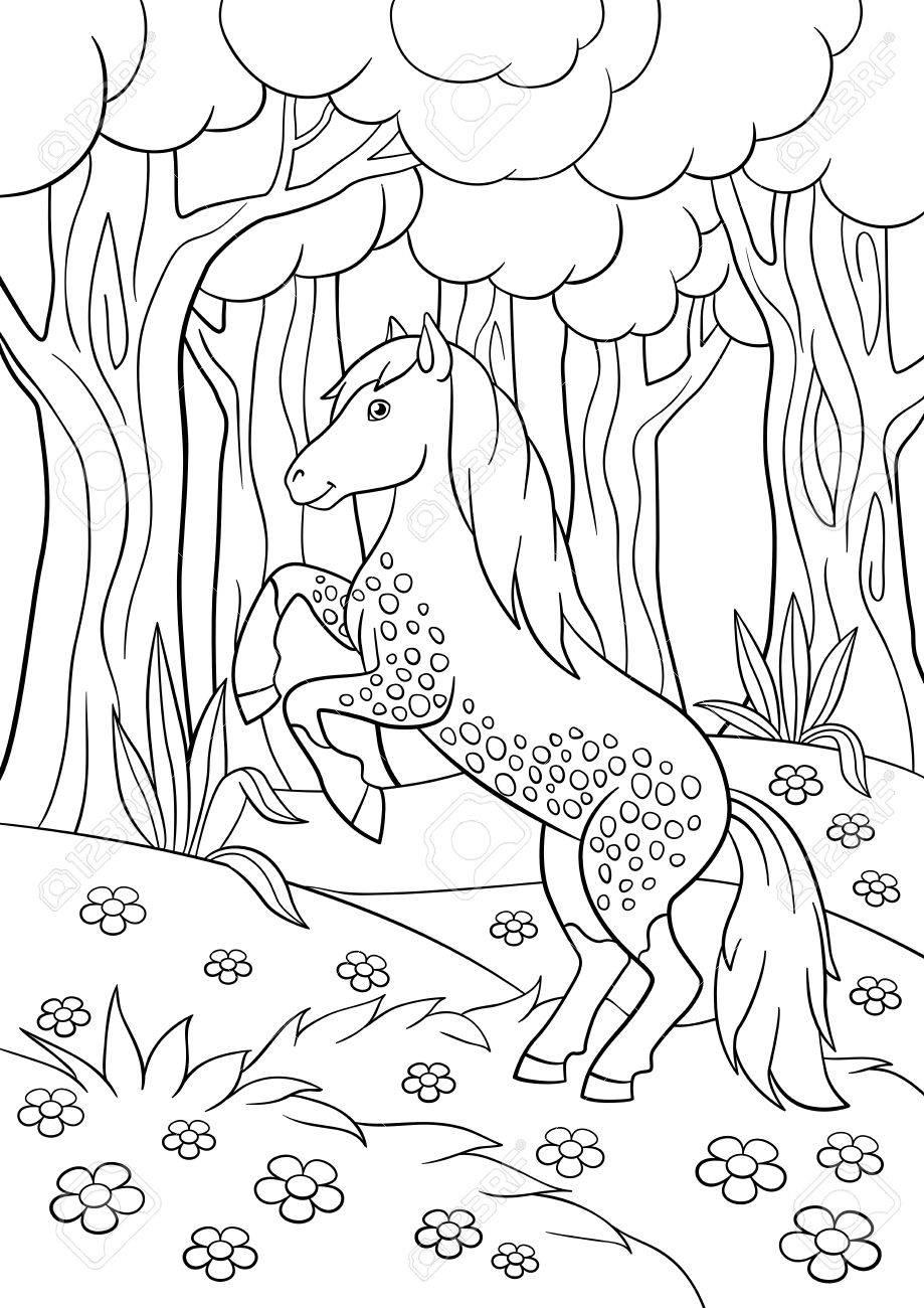 Malvorlagen. Nutztiere. Schönes Pferd Im Wald. Lizenzfrei Nutzbare ...