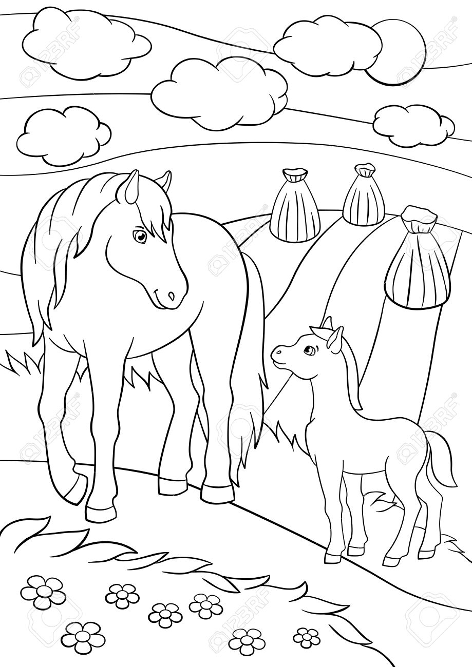 Coloring Pages Farm Animals Mother Horse With Her Little Cute Foal On The Field