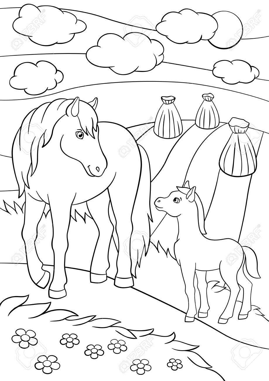 Páginas Para Colorear. Animales De Granja. Caballo De La Madre Con ...