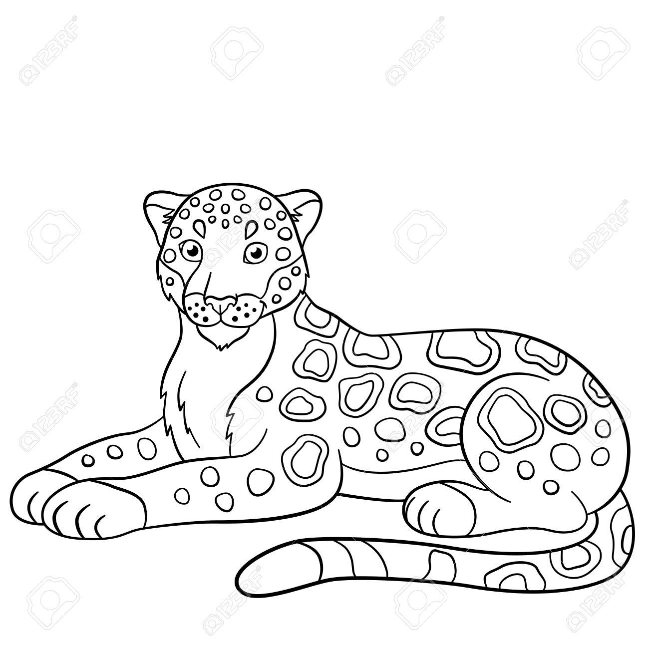 Páginas Para Colorear Jaguar Lindo Pone Y Sonríe