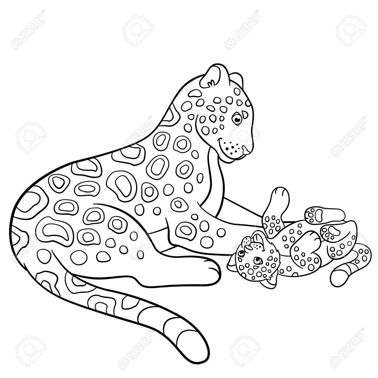 Malvorlagen. Mutter Jaguar Mit Ihrem Kleinen Süßen Jungen ...