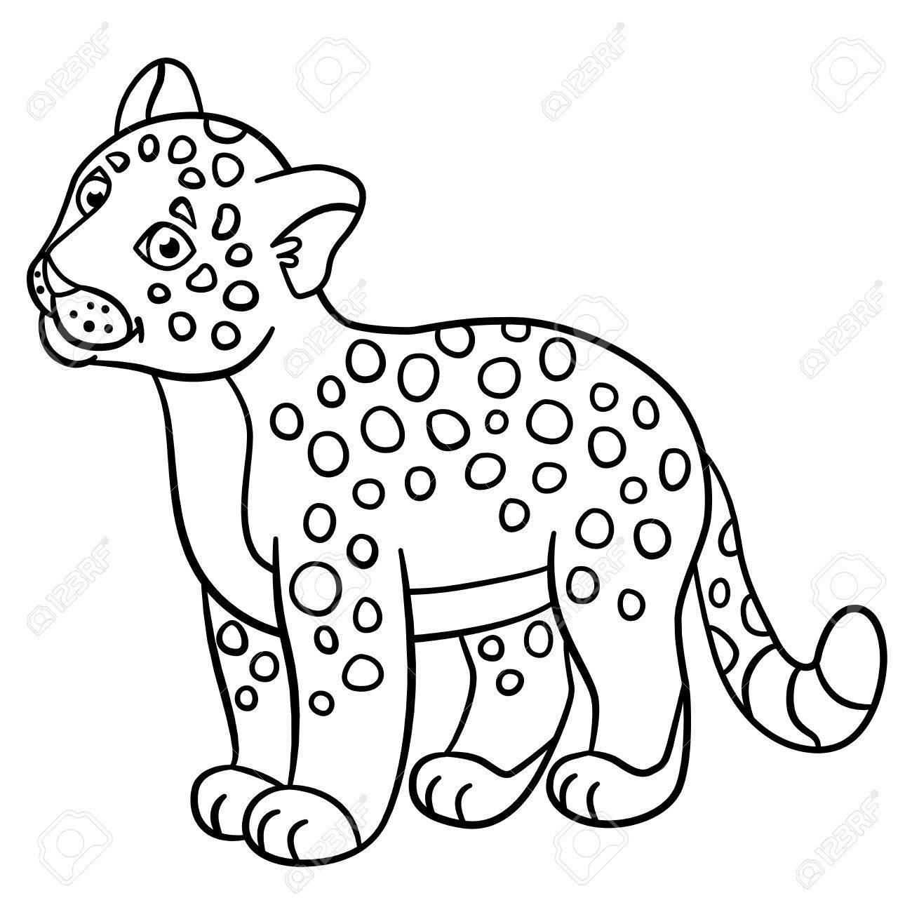 Páginas Para Colorear. El Pequeño Bebé Jaguar Manchado Lindo Sonríe ...