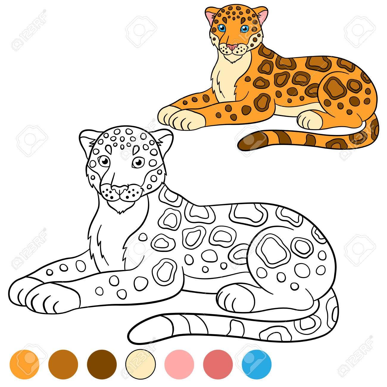 Dibujo Para Colorear Con Los Colores Jaguar Lindo Pone Y Sonríe