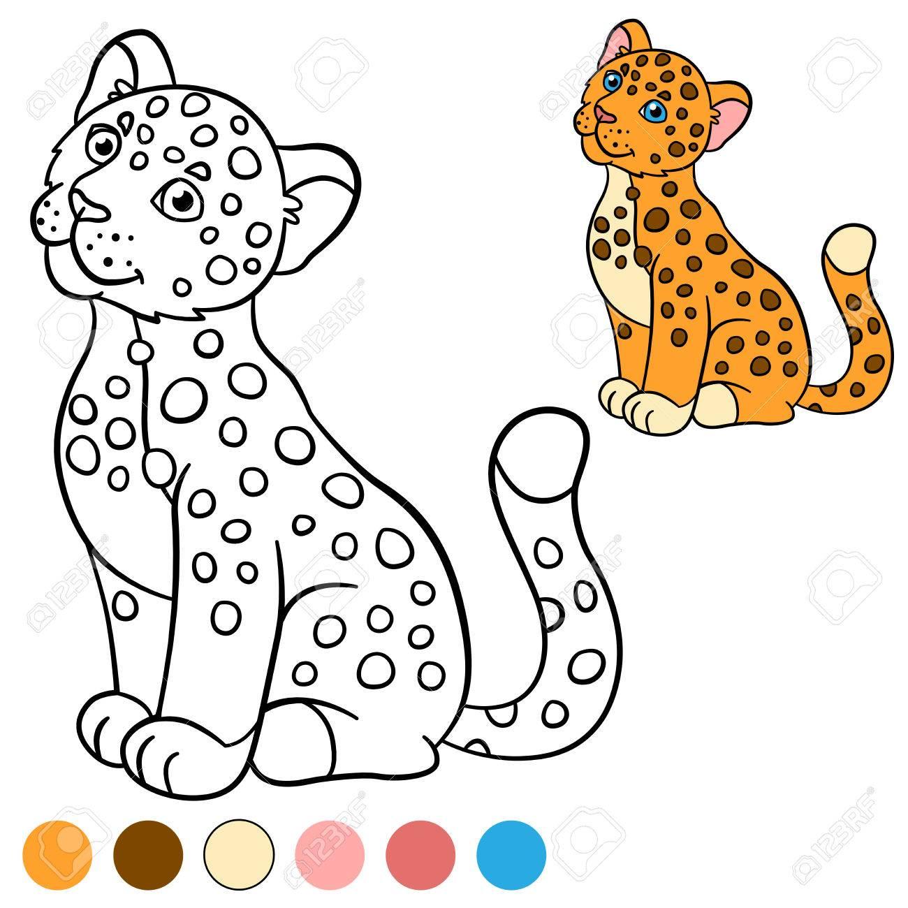 Dibujo Para Colorear Con Los Colores Poco Jaguar Lindo Bebé Sonríe