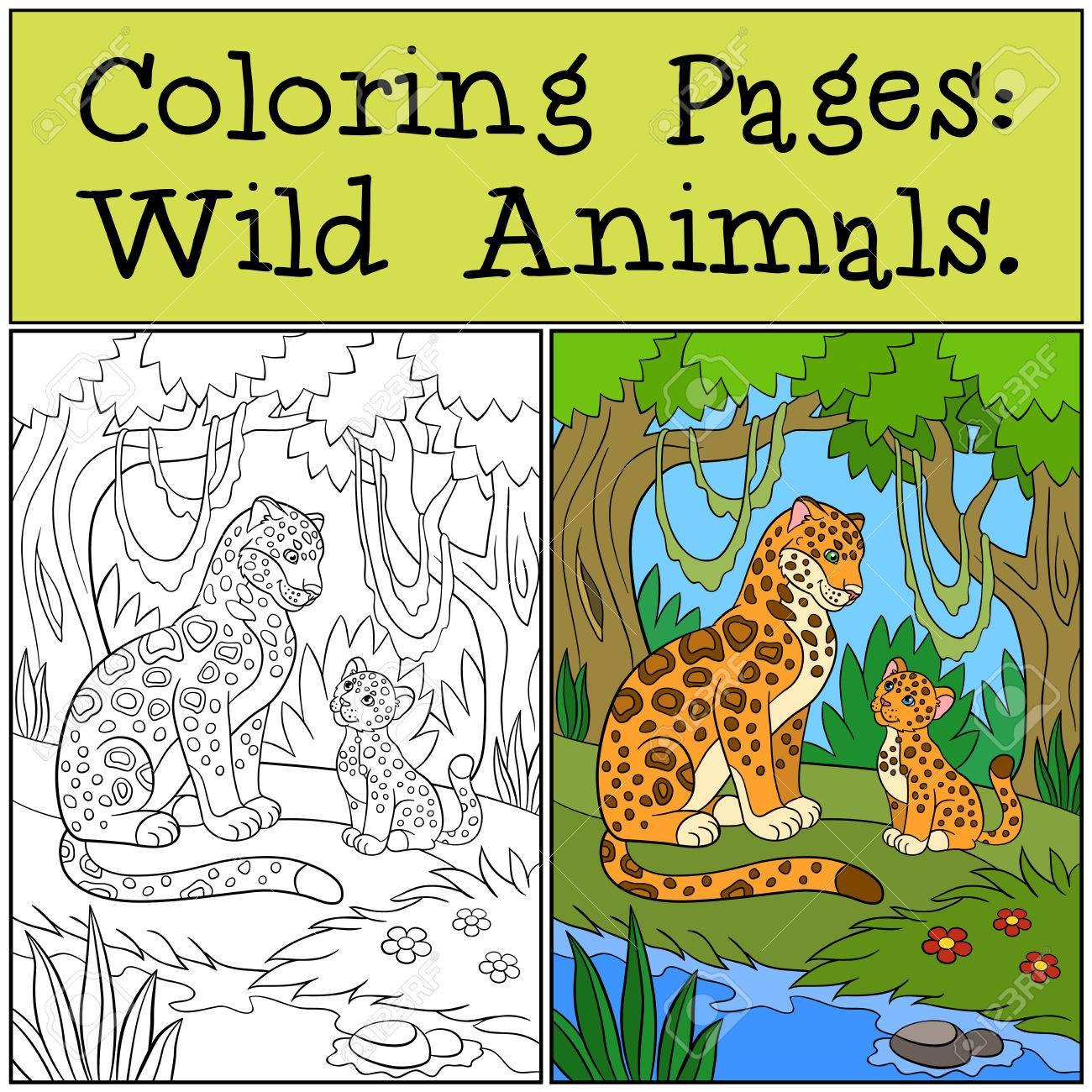 Páginas Para Colorear: Animales Salvajes. Madre Jaguar Con Su ...