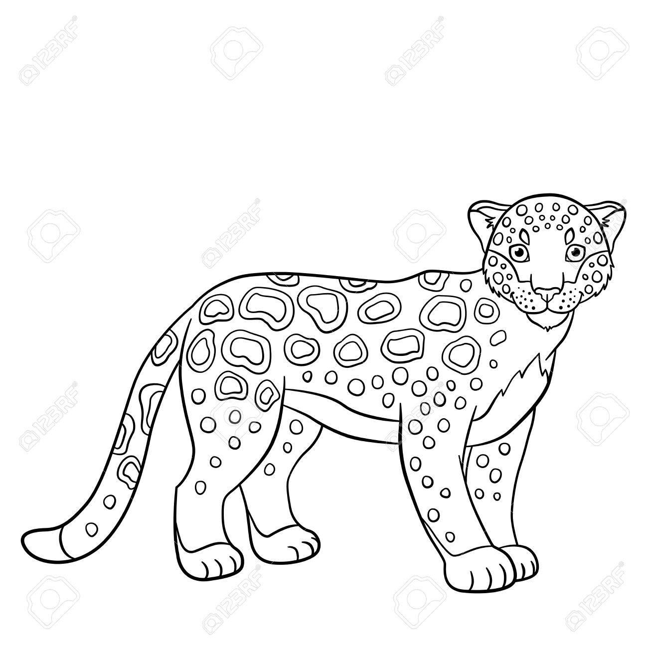 Páginas Para Colorear Lindo Manchado Gradas De Jaguar Y Sonrisas