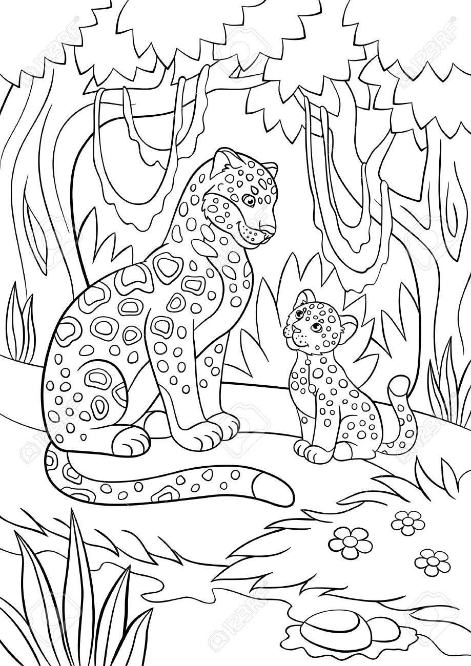Páginas Para Colorear. Madre Jaguar Con Su Pequeño Cachorro Lindo En ...