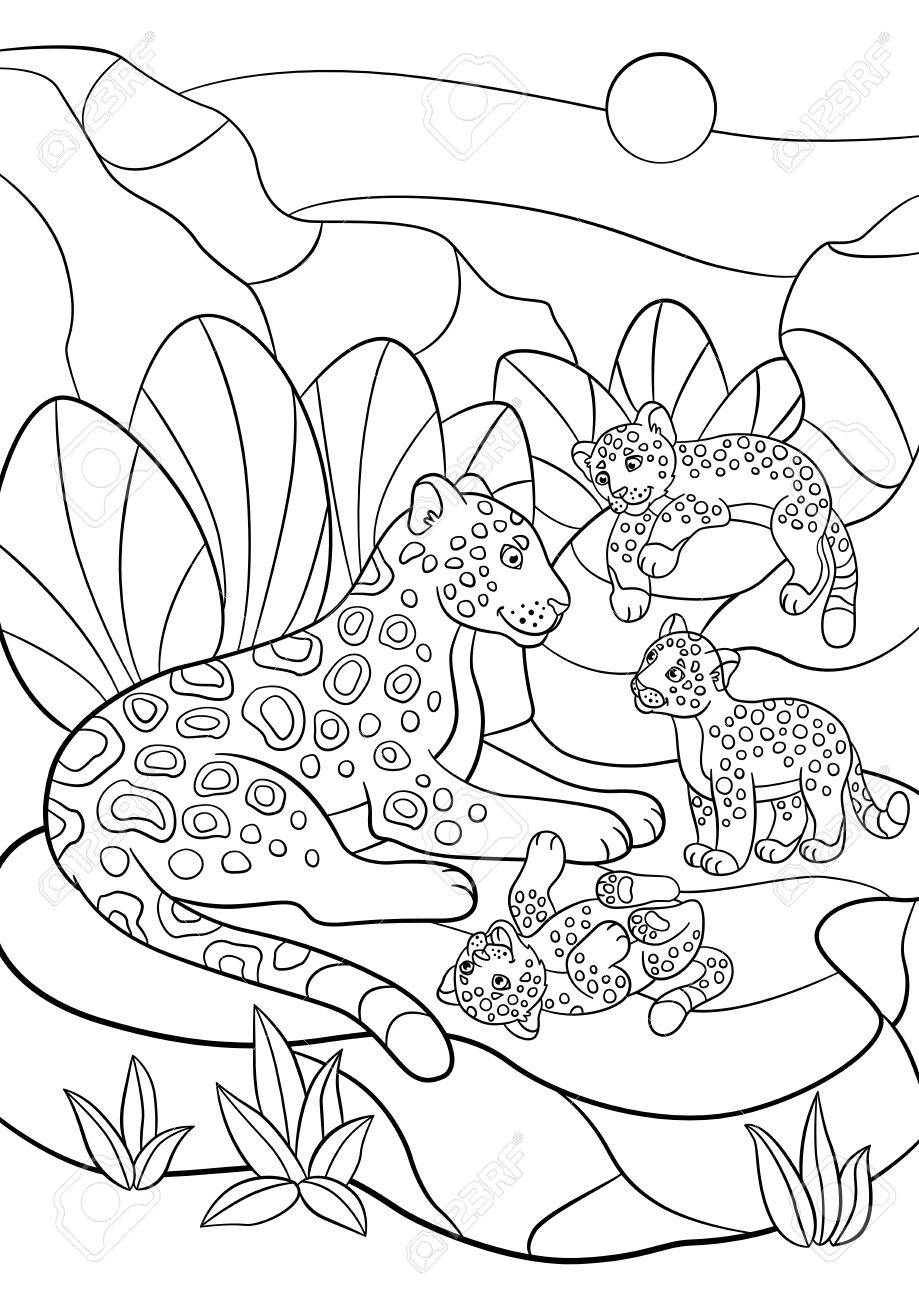 Páginas Para Colorear. Madre Jaguar Con Sus Pequeños Cachorros ...