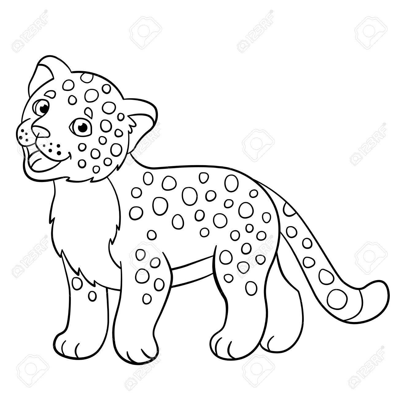Páginas Para Colorear El Pequeño Bebé Jaguar Manchado Lindo Sonríe