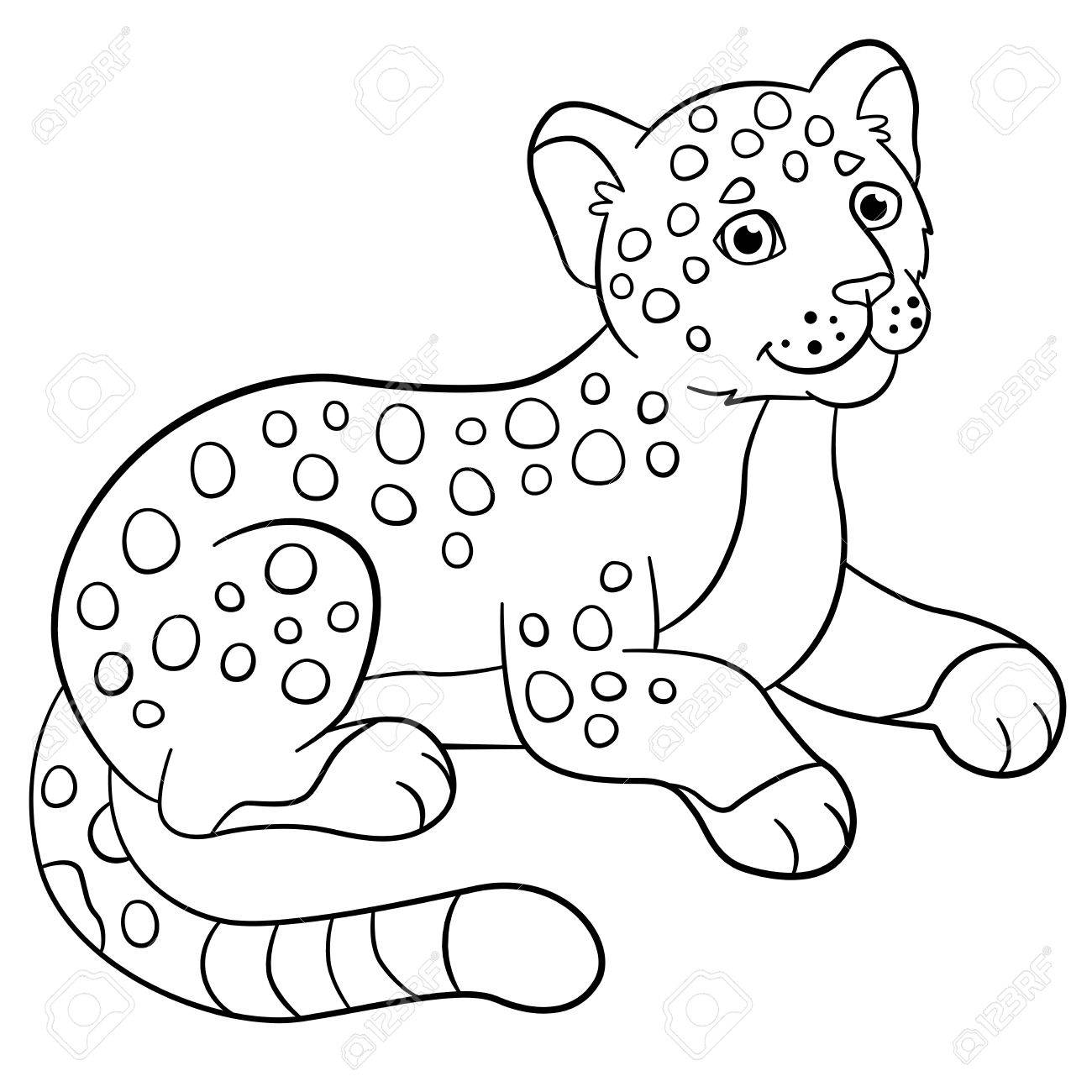 Coloring Pages. Little Cute Spotted Baby Jaguar Smiles. Royalty Free ...