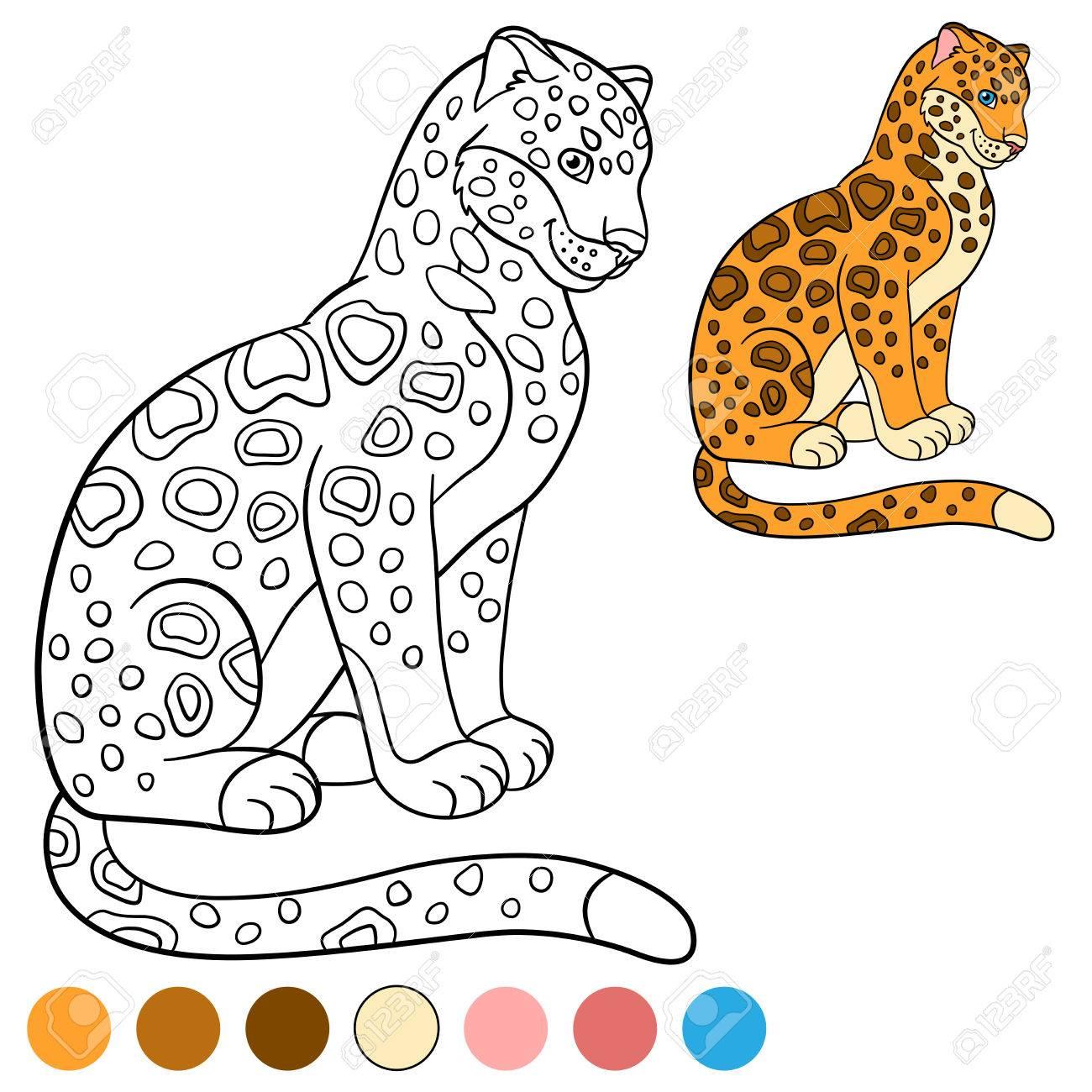 Dibujo Para Colorear Con Los Colores Jaguar Lindo Se Sienta Y Sonríe