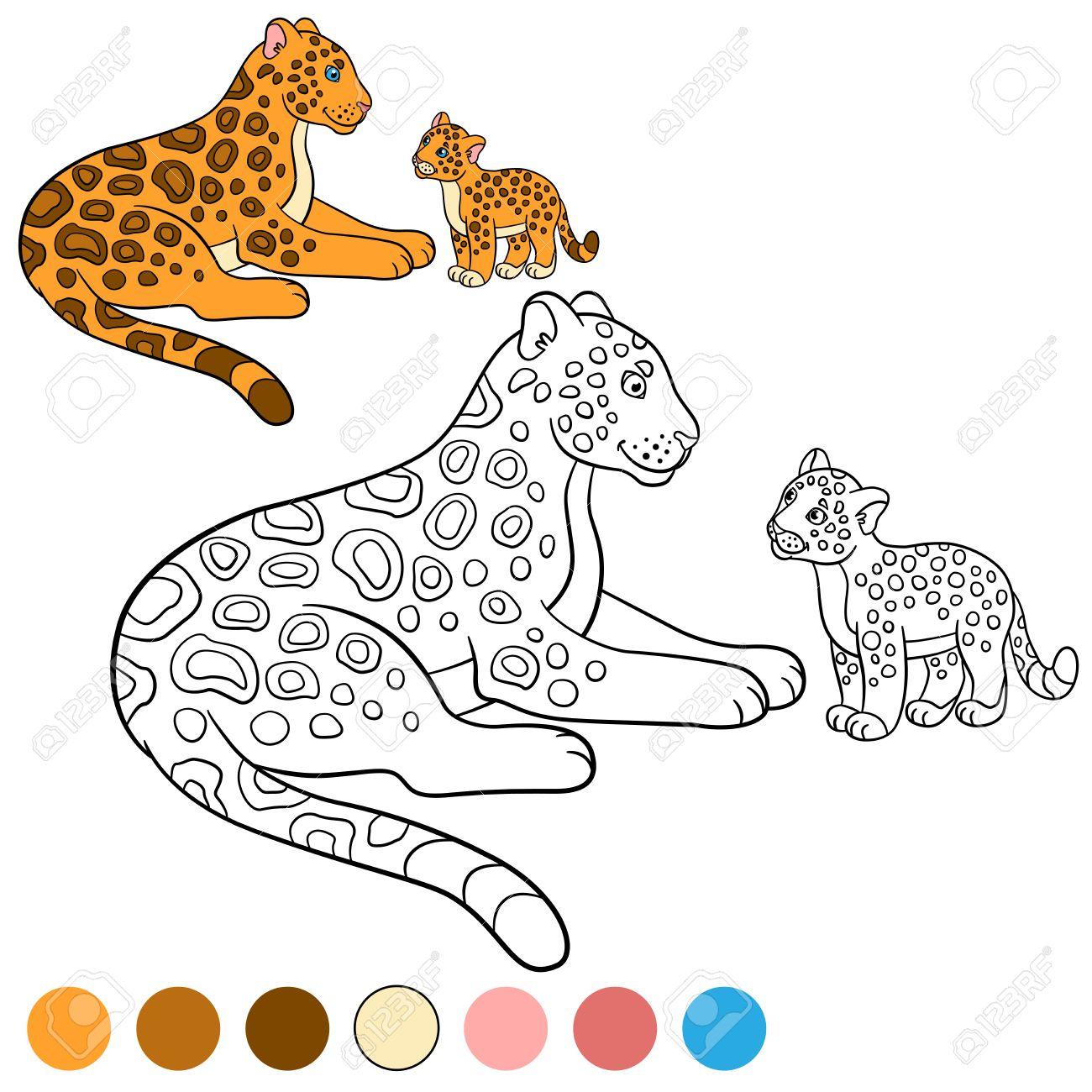 Dibujo Para Colorear Con Los Colores. Madre Con Su Pequeño Jaguar ...