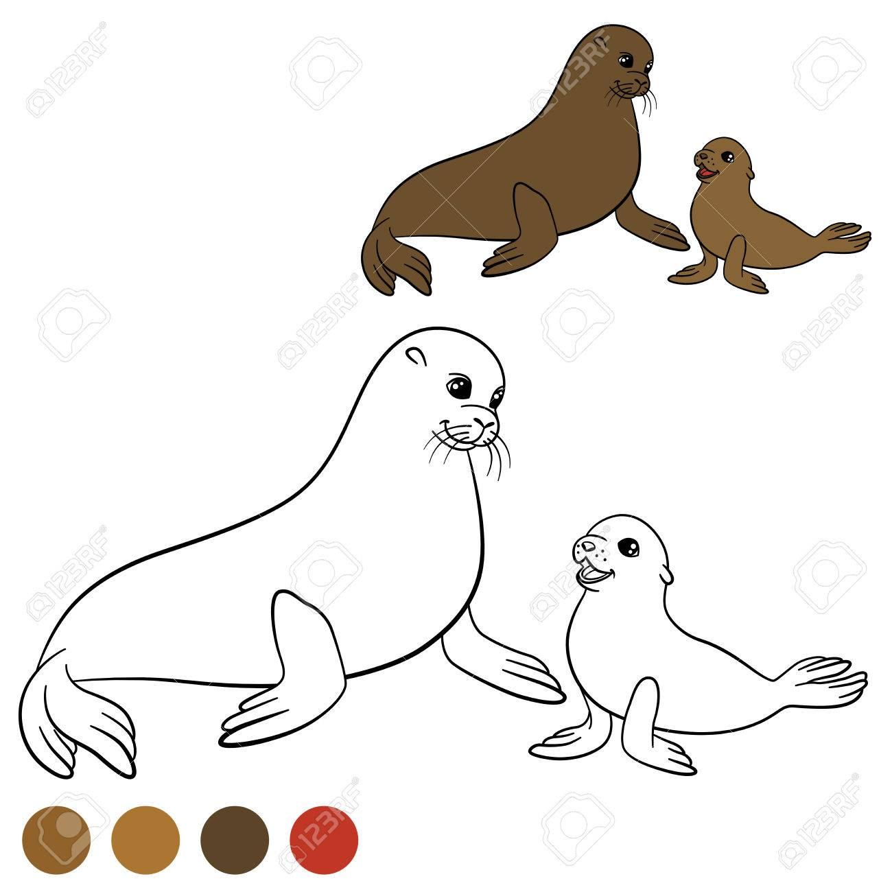 Dibujo Para Colorear Con Los Colores Lobo Marino De La Madre Con Su Pequeño Bebé Lindo