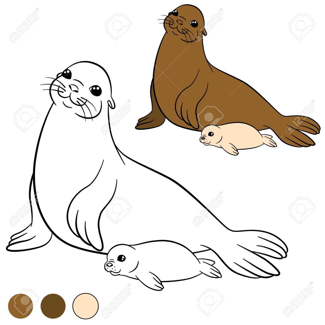 coloring page with colors mother fur seal with her little cute