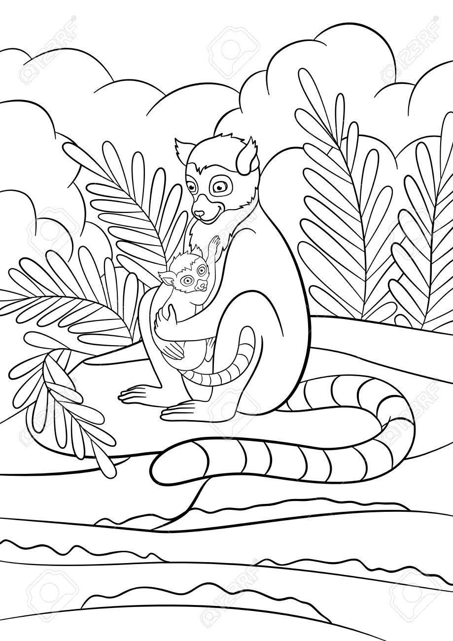 Malvorlagen. Mutter Lemur Sitzt Auf Dem Stein In Der Nähe Des Meeres ...