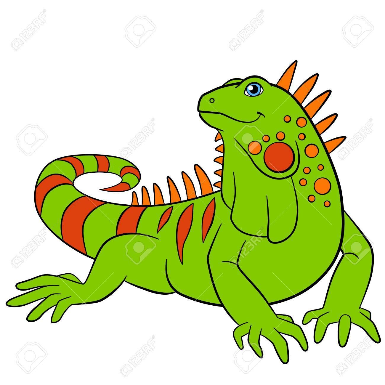 Animales De Dibujos Animados Iguana Verde Lindo Se Sienta Y Sonríe
