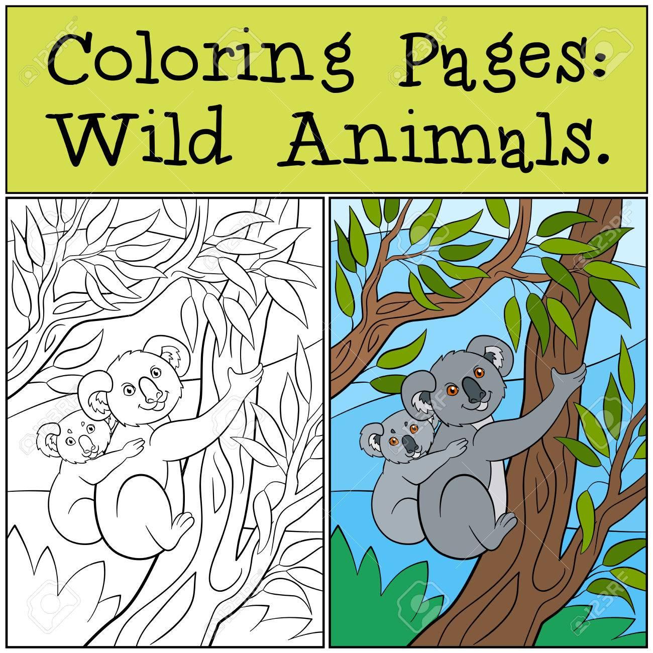 Kleine Kleurplaten Van Dieren.Kleurplaten Wilde Dieren Moeder Koala Zit Op De Boomtak Met Haar Kleine Schattige Baby En Glimlach