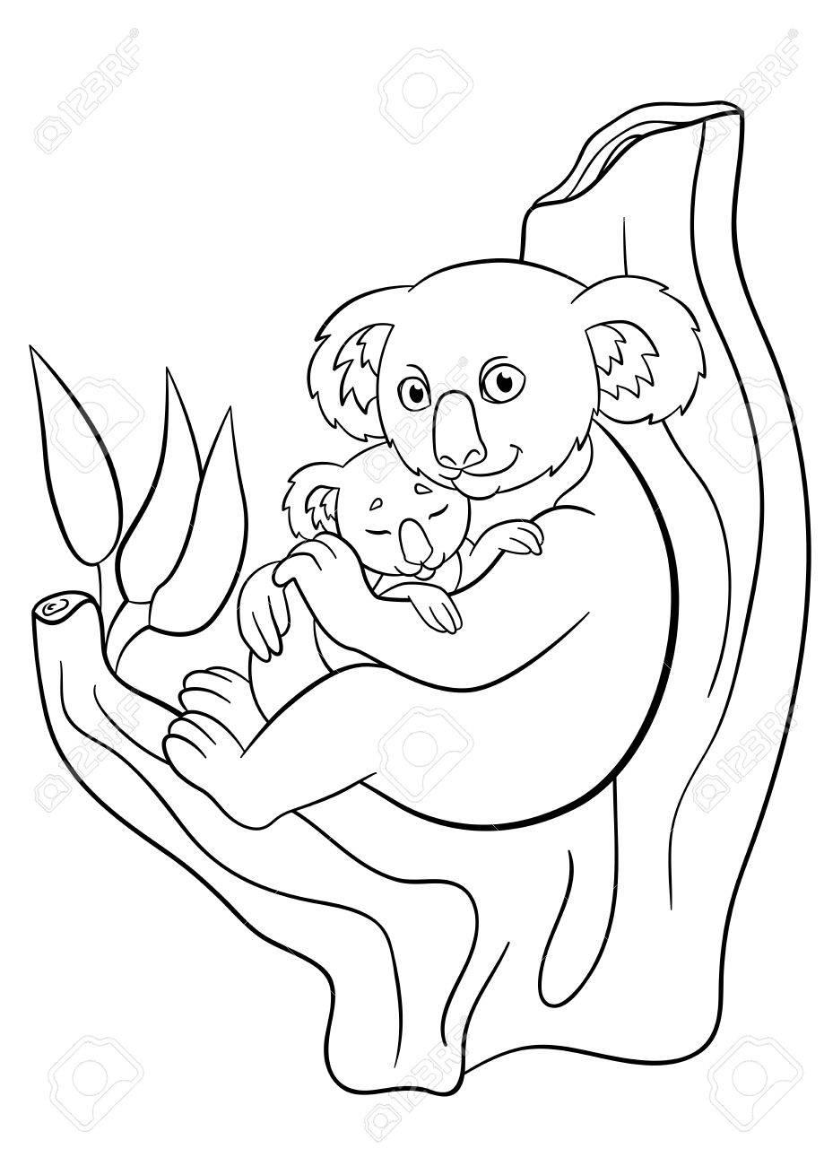 Coloriage Mère Koala Avec Son Petit Bébé Endormi Mignon Assis Sur L Arbre Et Des Sourires