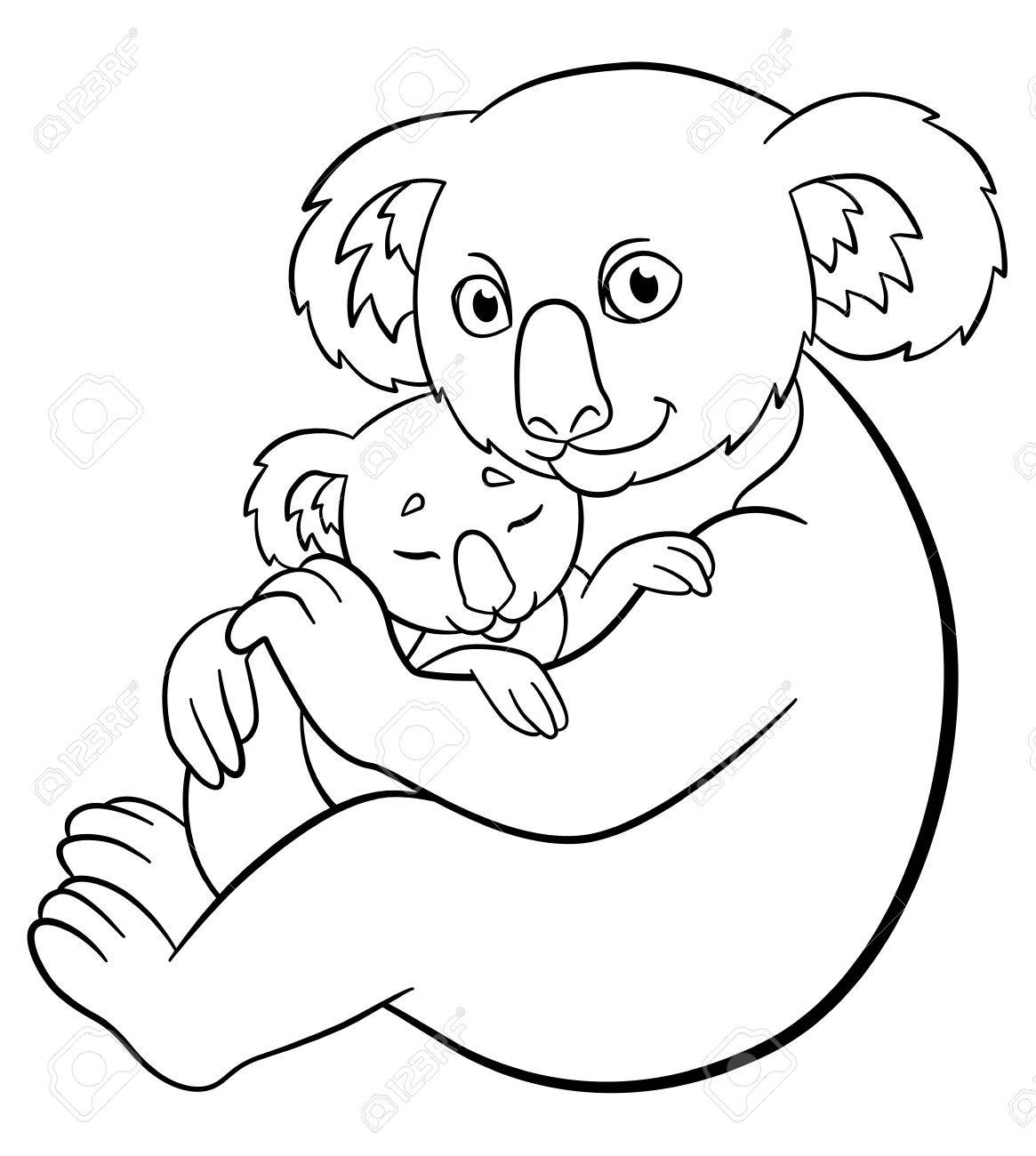 Coloring Pages. Mother Koala With Her Little Cute Sleeping Baby ...