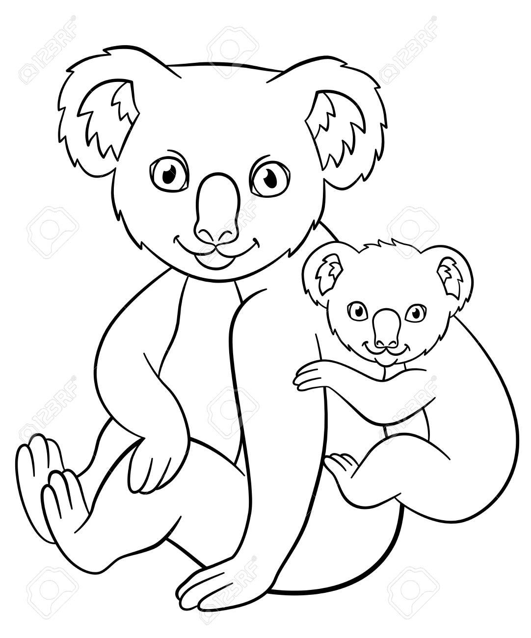 Pages De Coloriages Mère Koala Avec Son Petit Bébé Mignon Sur Son Dos