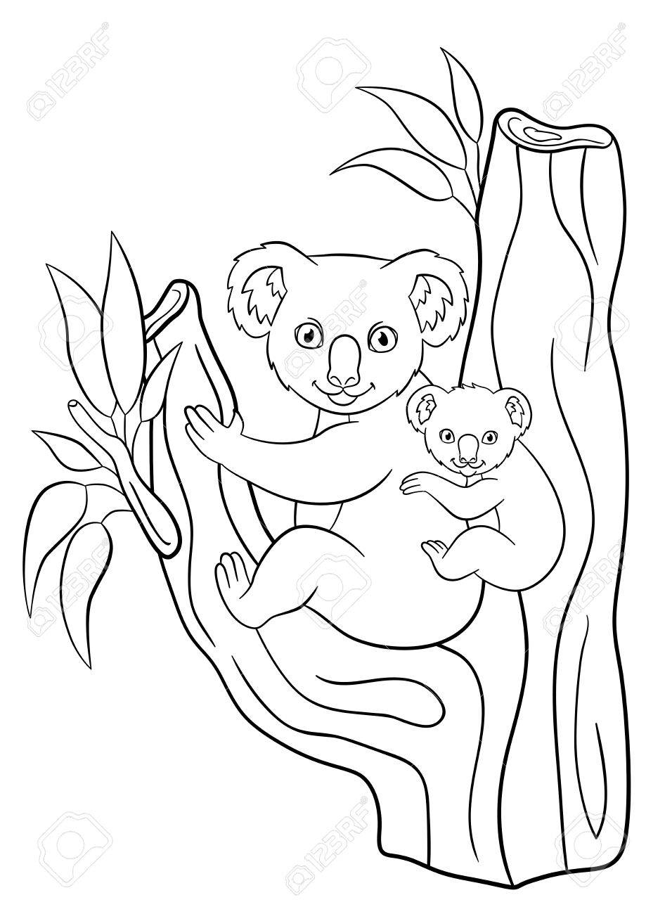 Coloring Pages Mother Koala With Her Little Cute Baby On Back Sits The