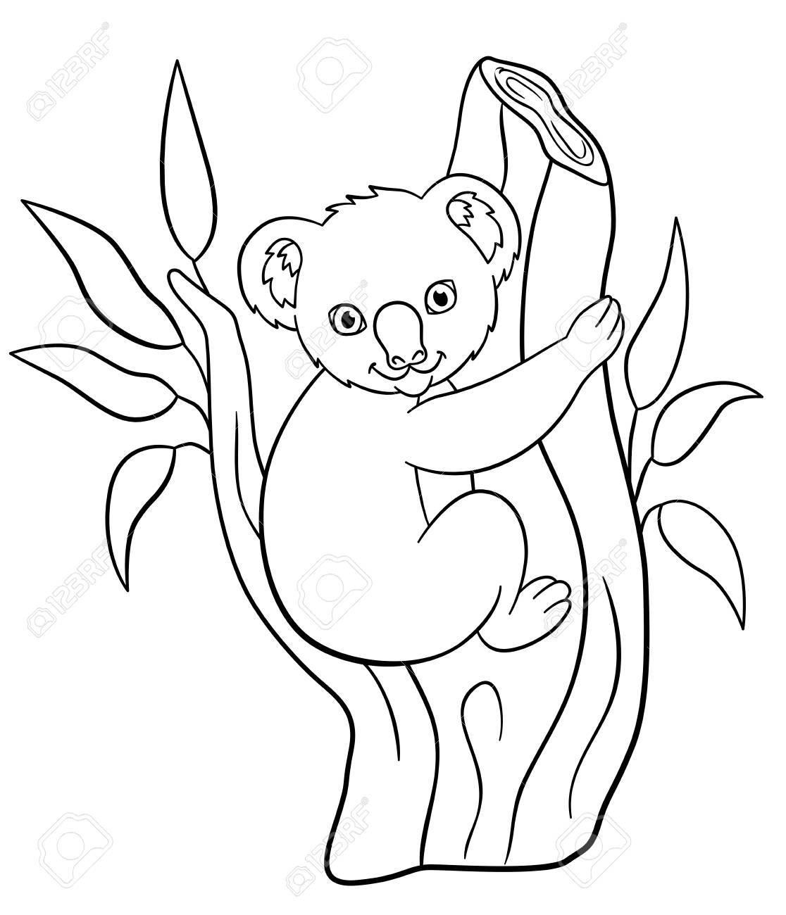 Malvorlagen. Kleine Süße Baby Koala Sitzt Auf Dem Ast Und Lächelt
