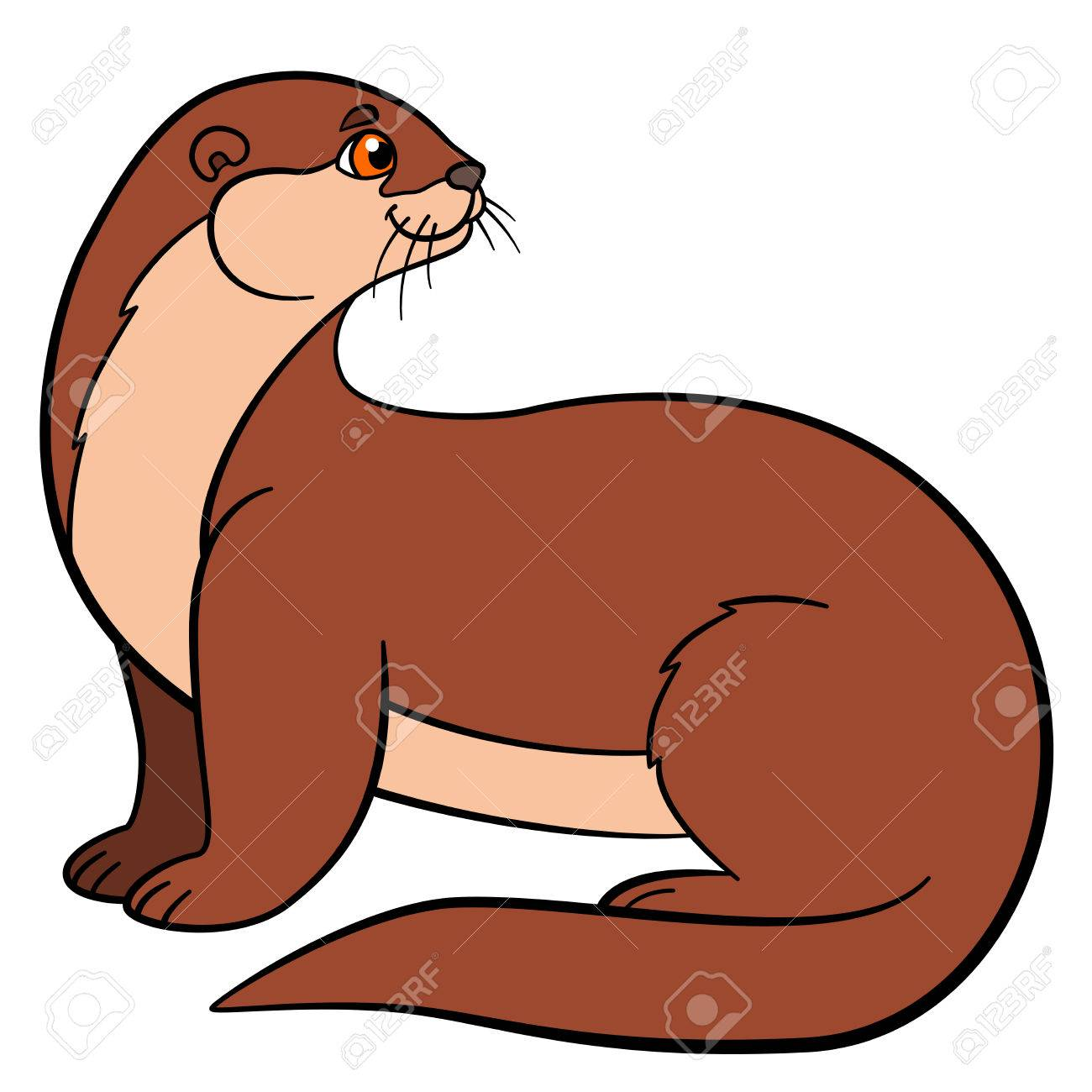 Animales De Dibujos Animados. Poco Nutria Linda Se Sienta Y Sonríe ...