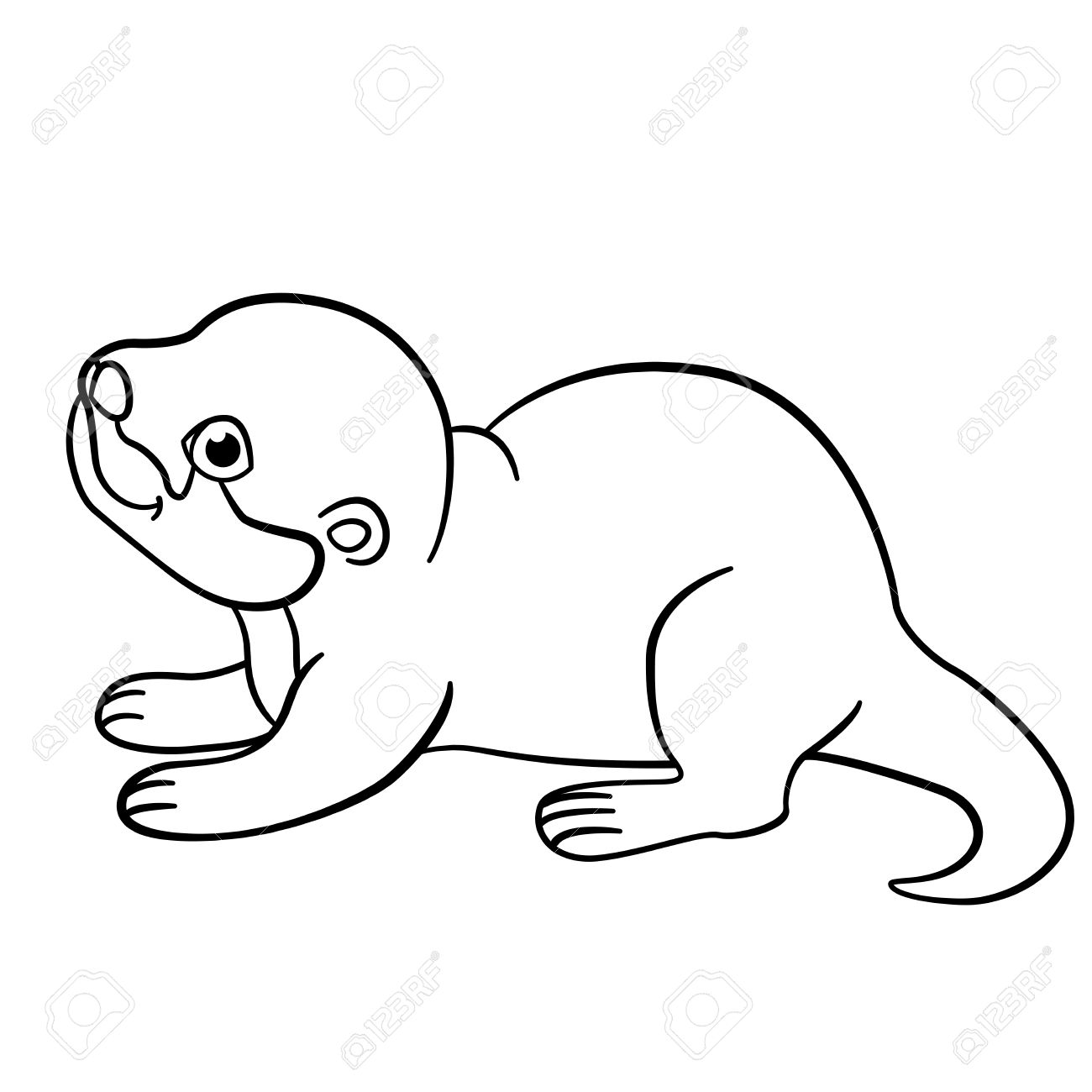 Coloring pages baby otters - Coloring Pages Little Cute Baby Otter Stands And Smiles Stock Vector 62915909