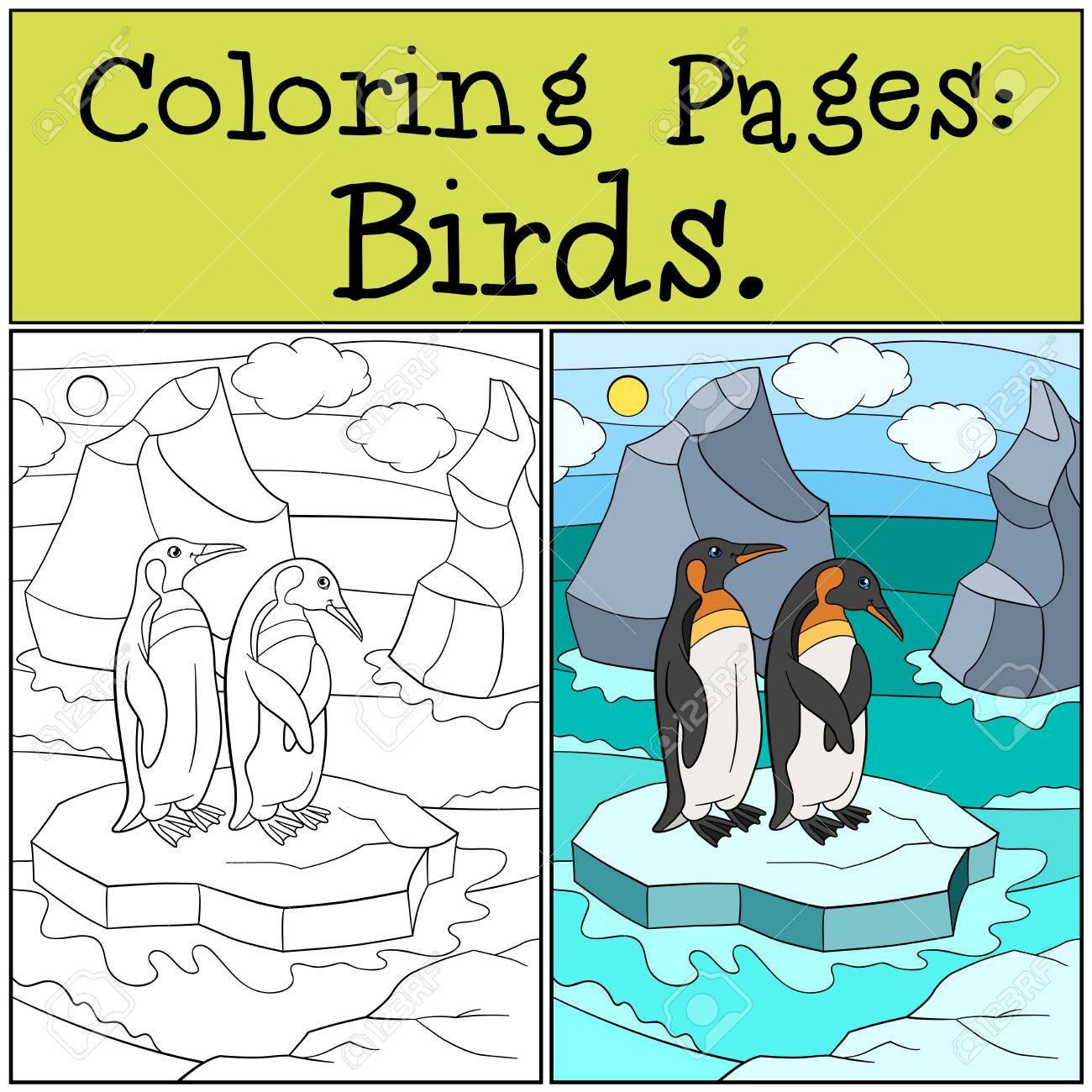 Dibujos Para Colorear: Aves. Dos Pequeños Pingüinos Lindos Se ...