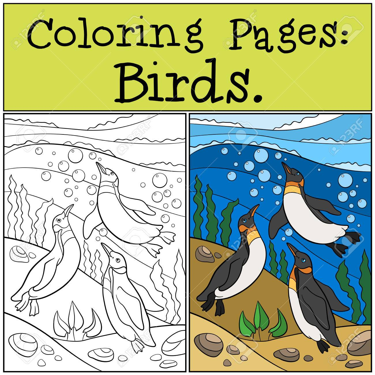 Coloring Pages: Birds. Three Little Cute Penguins Swim Underwater ...