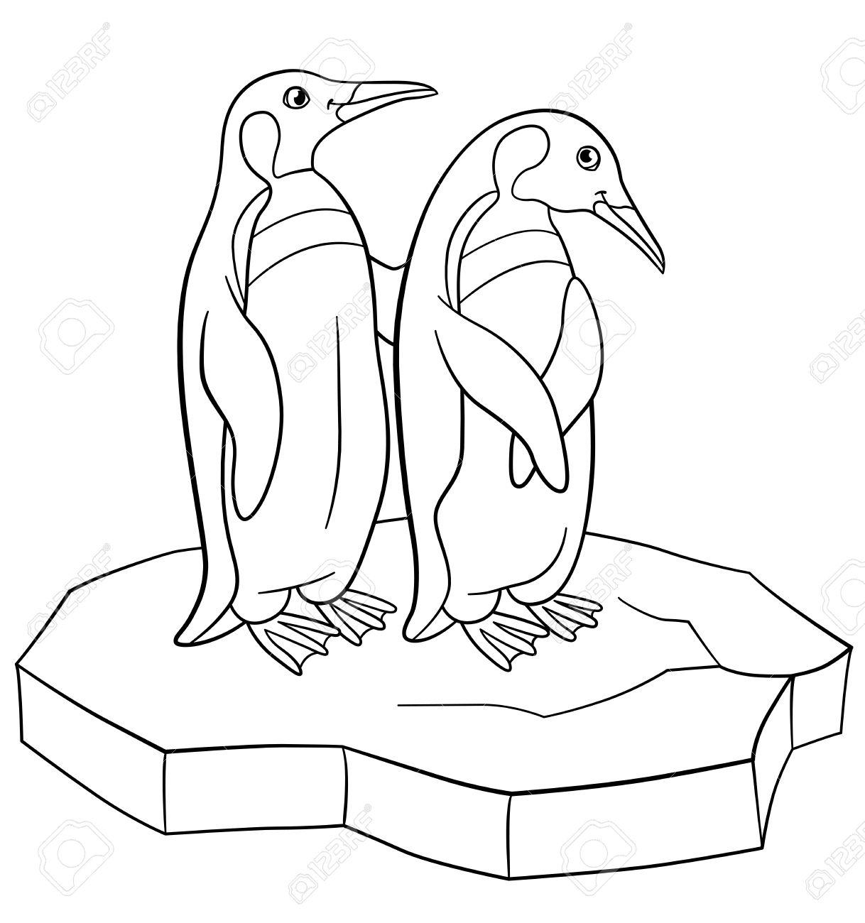Páginas Para Colorear. Dos Pequeños Pingüinos Lindos Están En El ...