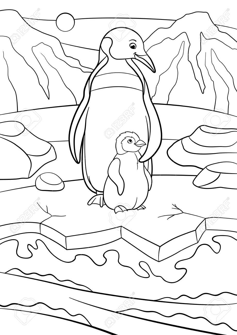 Coloring Pages. Mother Penguin Stands With Her Little Cute Baby ...