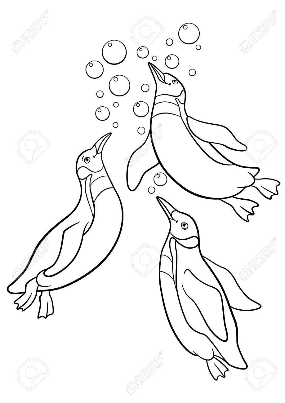 Páginas Para Colorear. Tres Pequeños Pingüinos Lindos Nadan Y ...