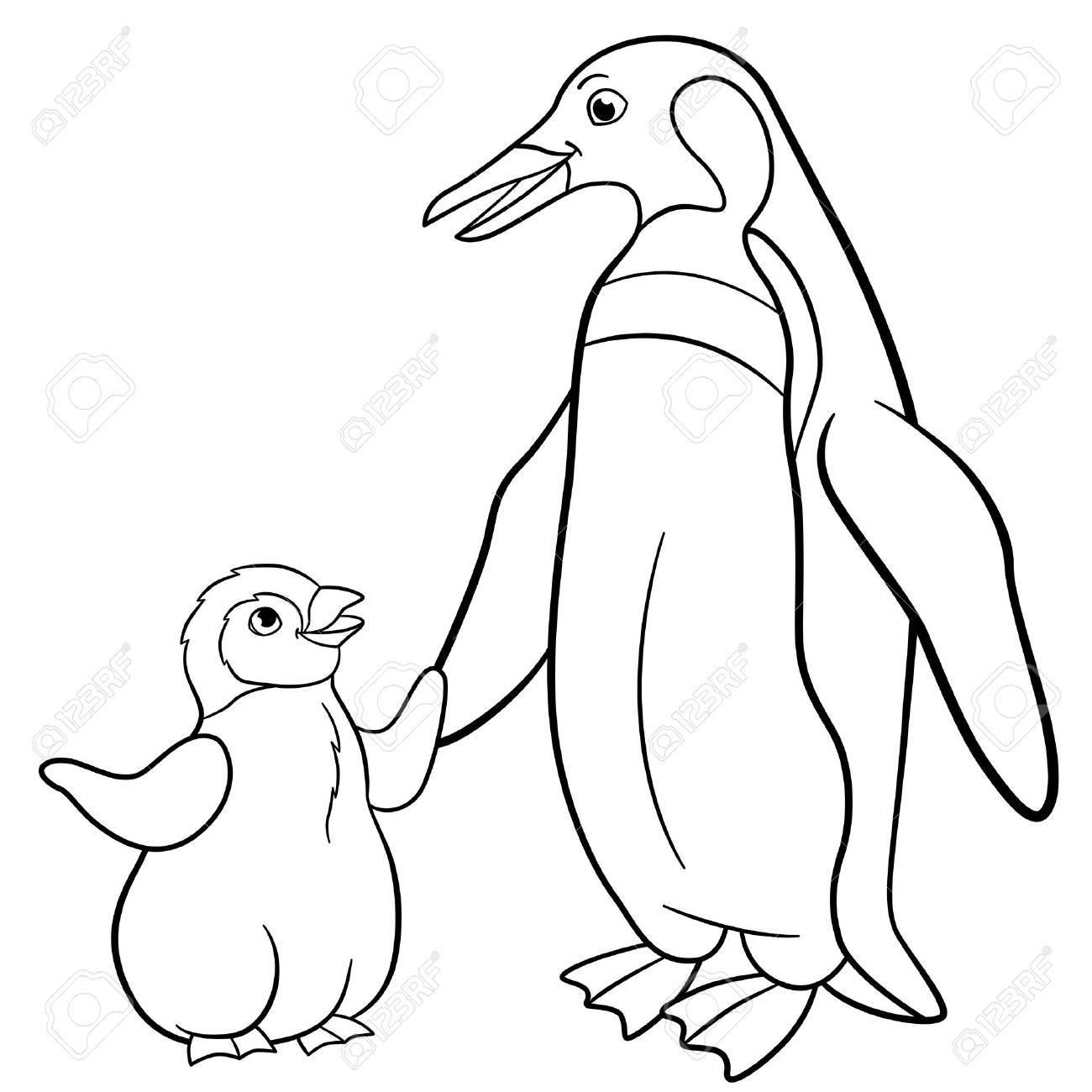 Kleurplaten Dieren Pinguin.Kleurplaten Moeder Pinguin Met Haar Kleine Schattige Baby Royalty