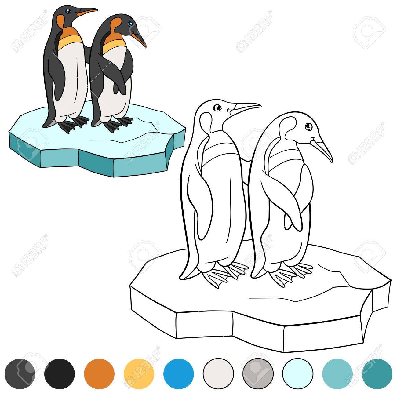 Malvorlagen. Zwei Kleine Niedliche Pinguin Stehen Auf Der Eisscholle ...