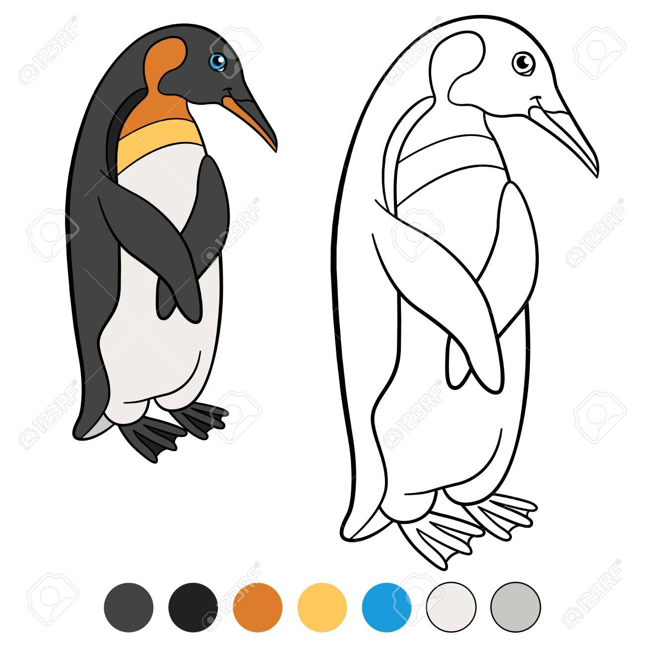 Páginas Para Colorear. El Pequeño Pingüino Lindo Se Encuentra Y ...