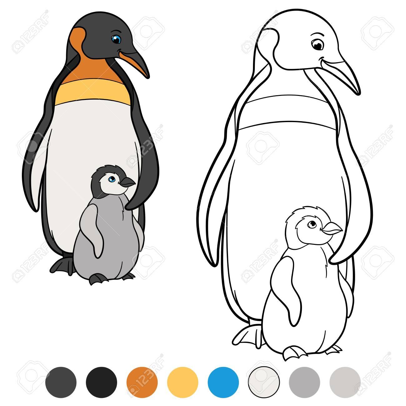 Malvorlagen. Mutter Pinguin Steht Mit Ihrem Kleinen Niedlichen Baby ...